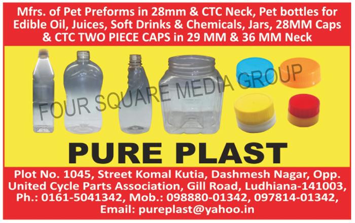 Pet Preforms, Pet Bottles, Pet Jars, 28mm Caps, CTC Two Piece Caps