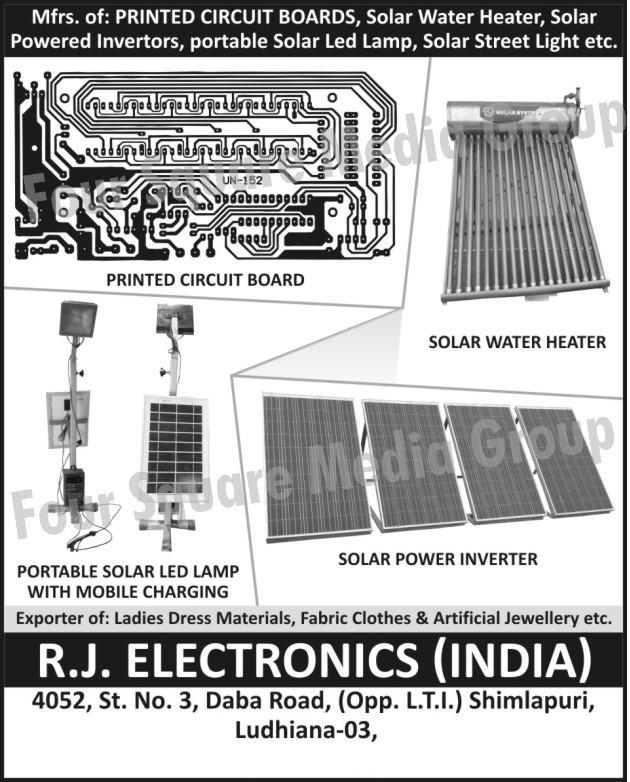 Printed Circuit Boards, Solar Water Heater, Solar Power Inverters, Portable Solar LED Lamp, Solar Street Light, PCB,