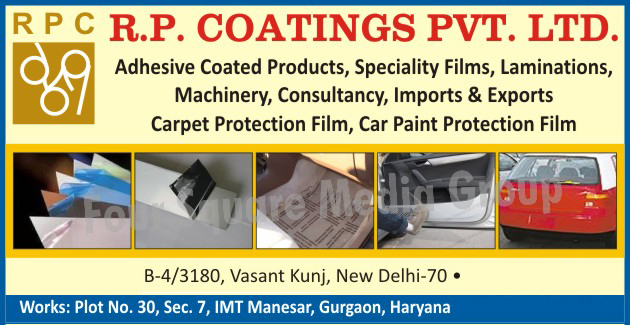 Adhesive Coated Products, Speciality Films, Laminations, Protective Film Application Machines, Carpet Protection Films, Car Paint Protection Films