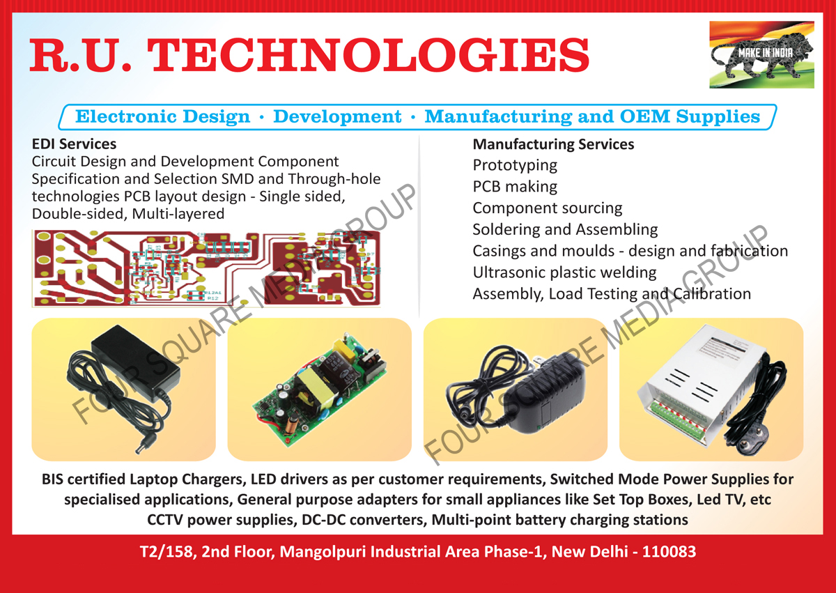 Laptop Chargers, Customised Led Drivers, Customized Led Drivers, Switch Mode Power Supply, SMPS, Set Top Box Adapters, Led TV Adapters, CCTV Power Supply, DC-DC Converters, Multi Point Battery Charging Stations
