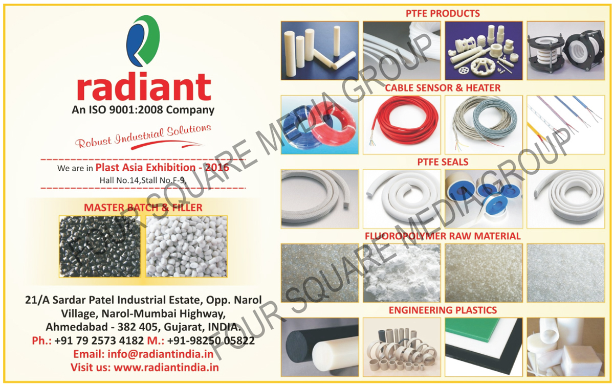 Master Batches, Fillers, PTFE Products, PTFE Seals, Fluoropolymer Raw Materials, Engineering Plastics, PTFE Coated Wires, Thermocouple Wires, Heater Wires, Fiberglass Coated Wires, Silicone Wires, FEP Wires, PFA Wires, Cartridge Heaters, Band Heaters, Strip Heaters, Tubular Heaters, Hot Runner Heaters, Manifold Heaters, Temperature Sensors