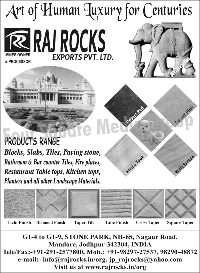 Blocks, Slabs, Tiles, Paving Stones, Bathroom Tiles, Bar Counter Tiles, Restaurant Table Tops, Kitchen Tops, Landscape Materials