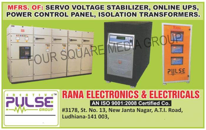 Servo Voltage Stabilizers, Online UPS, Power Control Panels, Isolation Transformers