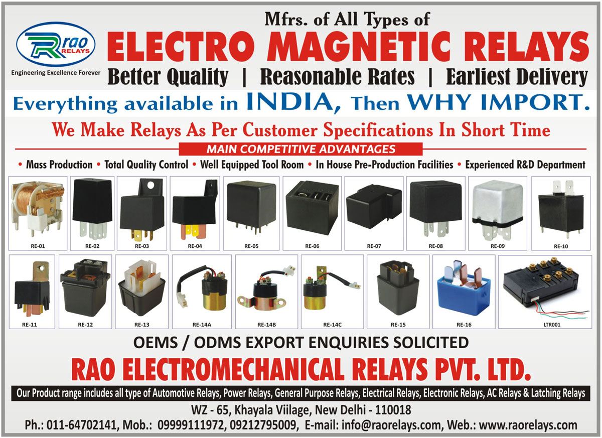 Electro Magnetic Relays, Customised Relays, Customized Relays, Automotive Relays, Power Relays, General Purpose Relays, Electrical Relays, Electronic Relays, AC Relays, Latching Relays,Automotive electrical parts, Automotive Brake Light, Automotive Fuse Holder, Automotive Halogen Bulb, Automotive Harness, Automotive Ignition Module, Automotive Ignition Parts, Automotive Lamp Parts, Automotive LED Lamp, Automotive Lighting Harness, Automotive Lighting Parts, Automotive Miniature Lamp, Automotive Starter Parts, Automotive electronic parts