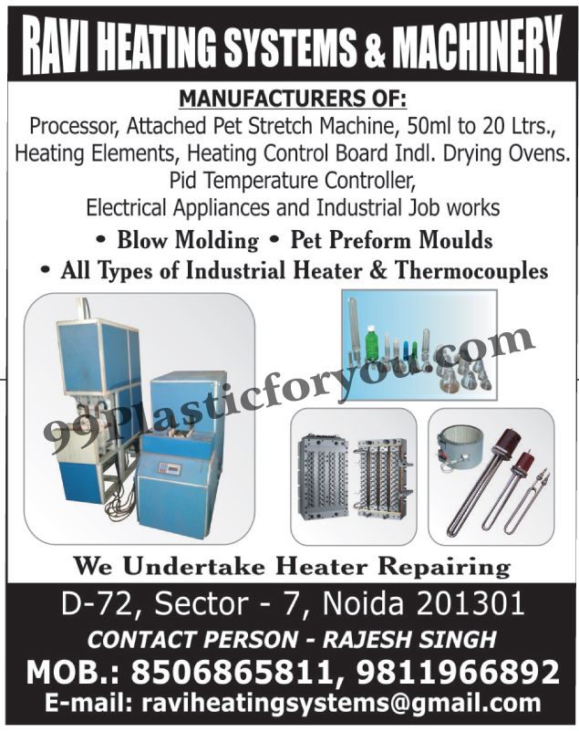 Attached Pet Stretch Machines, Heating Elements, Heating Control Board Industrial Drying Ovens, Pid Temperature Controllers, Electrical Appliances, Blow Mouldings, Pet Preform Moulds, Industrial Heaters, Industrial Thermocouples,Oven Industrial Drying, Blow Molding, Heater Repairing, Heating Equipment, Heating Systems, Processors Elements