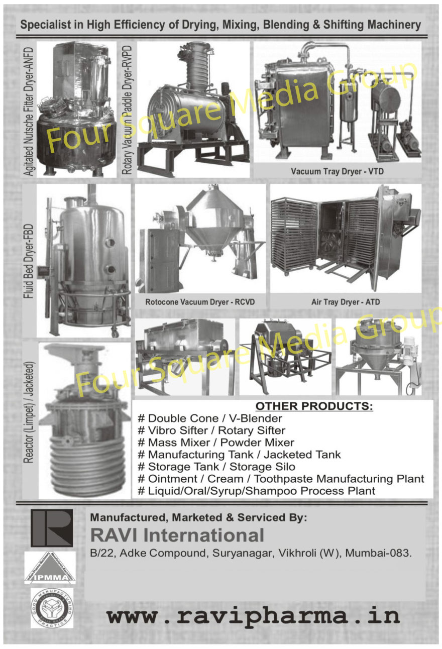 Vacuum Tray Dryer, Rotary Vacuum Dryer, Air Tray Dryer, Limpet Reactor, Jacketed Reactor, Fluid Bed Dryer, Agitated Nutsche Filter Dryer, ANFD, FBD, Rotary Vacuum Paddle Dryer, RVPD, Double Cone Blender, V Blender, Vibro Sifter, Rotary Sifter, Mass Mixer, Powder Mixer, Manufacturing Tank, Jacketed Tank, Storage Tank, Storage Silo, Ointment Cream Manufacturing Plant, Cream manufacturing Plant, Toothpaste Manufacturing Plant, Liquid Process Plant, Oral Process Plant, Syrup Process Plant, Shampoo Process Plant, Dring Machines, Mixing Machines, Blending Machines, Shifting Machines, Rotocone Vacuum Dryers