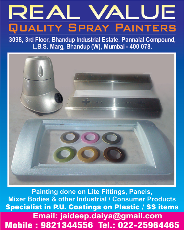 PU Coating on Plastic, PU Coating On Stainless Steel Products, PU Coating On SS Products, Plastic PU Coatings, SS Item PU Coatings, Stainless Steel Item PU Coatings, Light Fitting Paintings, Panel Paintings, Mixer Body Paintings, Industrial Product Paintings, Consumer Product Paintings,PU Coating