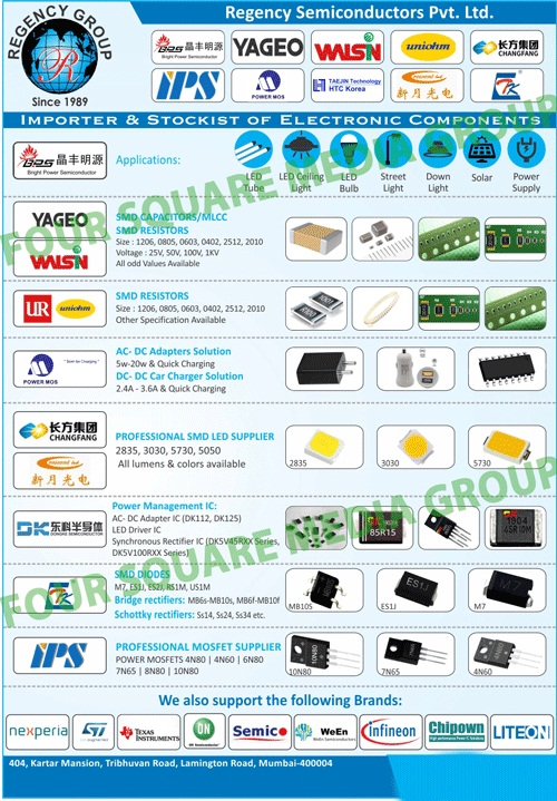 BP Chips, SMD Diodes, Bridge Rectifiers, Schottky Rectifiers, Bulb Modules, SMD Leds, Mosfets