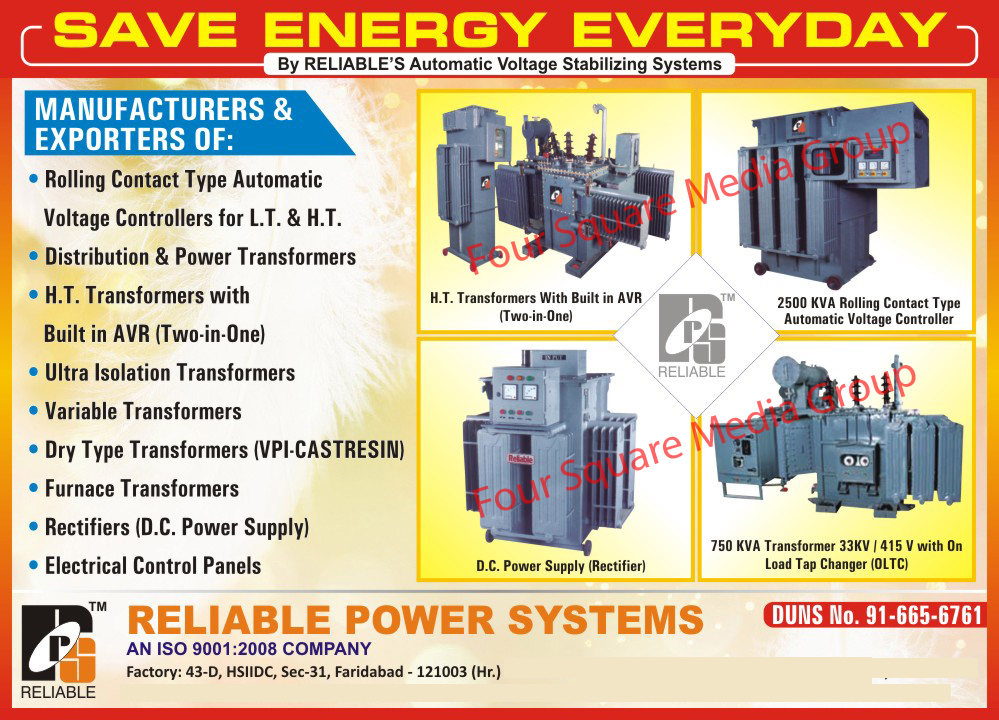 Dc Power Supply, Distribution Transformer, Ht Automatic Voltage Stabilizer, Lt Automatic Voltage Stabilizer, HT Transformers, Ultra Isolation Transformers, Variable Transformers, Dry Type Transformers, Furnace Transformers, Electrical Control Panels,Voltage Stabilizer, Dc Power Supply, Distribution Transformer, Transformer, Ac Variable Supplies