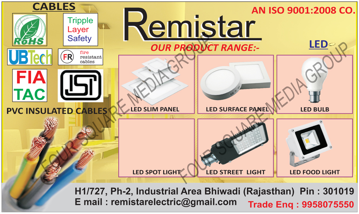 Led Lights, Led Slim Panel Lights, Led Surface Panel Lights, Led Bulbs, Led Spot Lights, Led Street Lights, Led Flood Lights, PVC Insulated Cables
