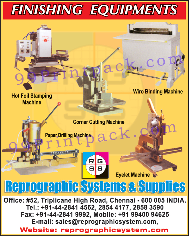 Hot Foil Stamping Machines, Corner Cutting Machines, Eyelet Machine, Wiro Binding Machine, Paper Drilling Machines
