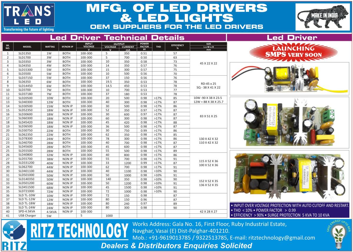 Led Lights, Led Drivers, Led Panel Lights, Led flood Lights, Led Street Lights, USB Mobile Chargers