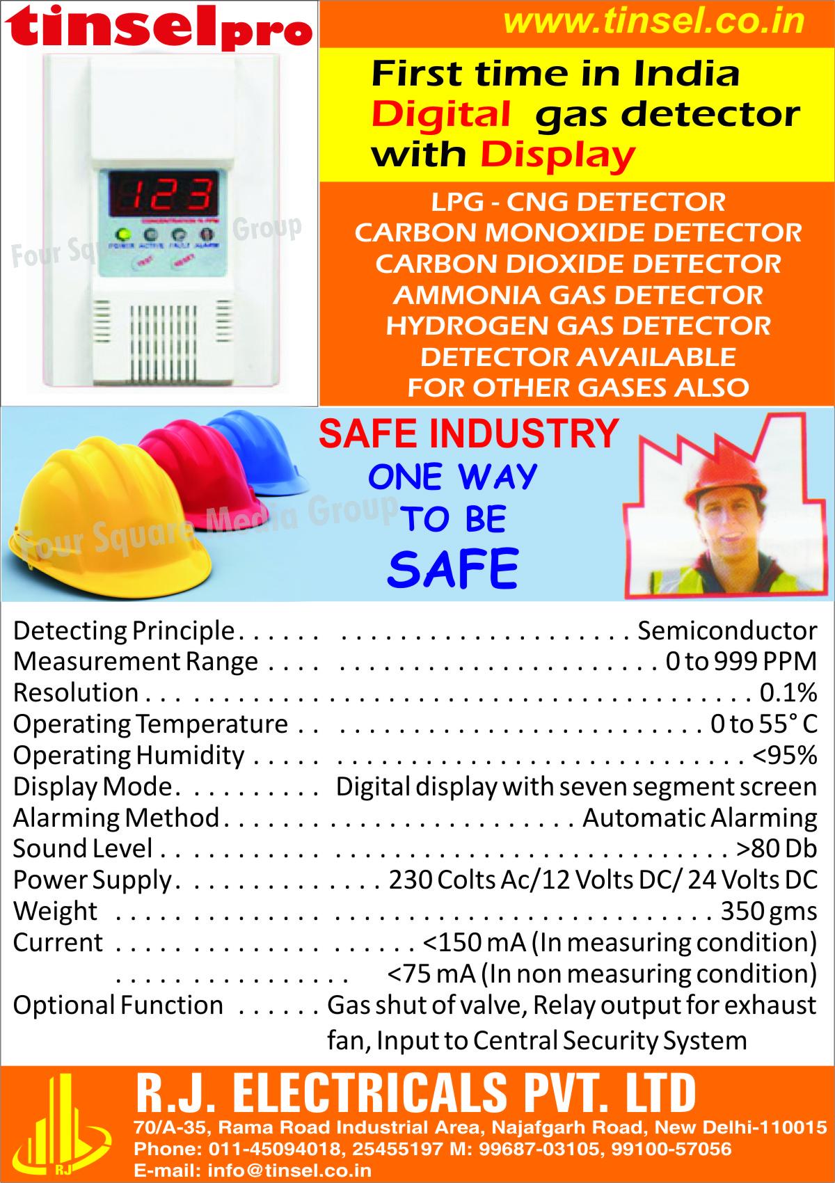 Digital Gas Detector With Display, LPG Detectors, CNG Detectors, Carbon Monoxide Detectors, Carbon Dioxide Detectors, Ammanonia Gas Detectors, Hydrogen Gas Detectors, Gas Detectors