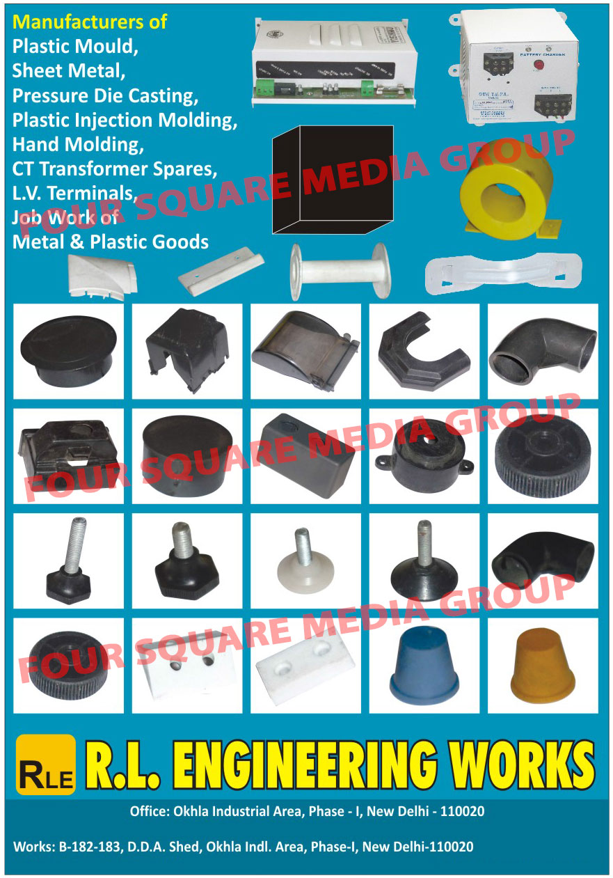 Plastic Moulds, Sheet Metal Moulds, Pressure Die Castings, Plastic Injection Mouldings, Hand Mouldings, CT Transformer Spares, LV Terminals, Metal Job Works, Plastic Good Job Works