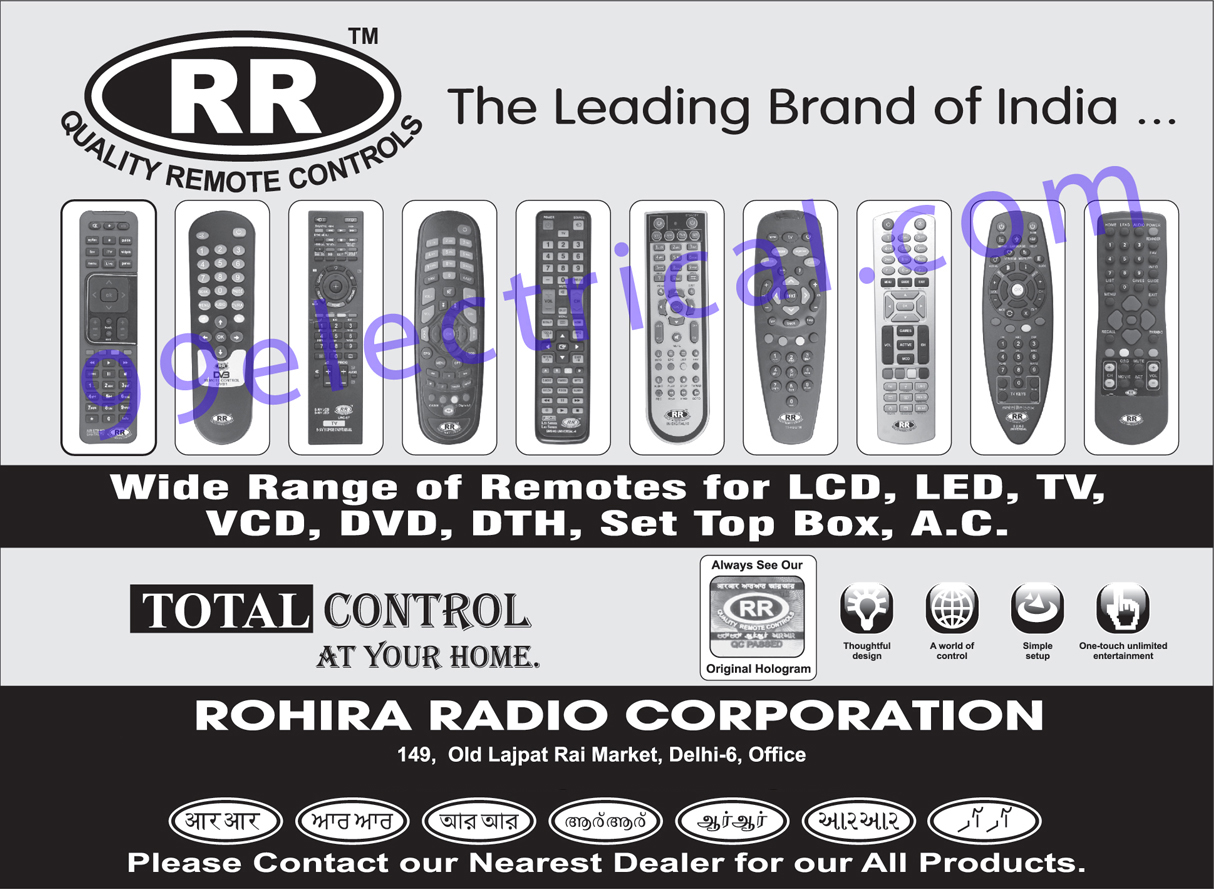 Remote Controls, LCD Remotes, LED Remotes, TV Remotes, VCD Remotes, DVD Remotes, DTH Remotes, Set Top Box Remotes, AC Remotes,Electrical Products