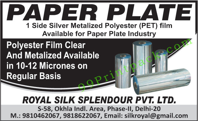 One Side Silver Metalized Polyester Film for Paper Plate Industry, One Side Silver Metalized Pet Film for Paper Plate Industry, Eight Micrones Metalized Polyester Film,Laminators Pouch Makers, Second Hand Metalizing Plant, Used Metalizing Plant, Two Colour Rotogravure Printing Machines, Two Color Rotogravure Printing Machines
