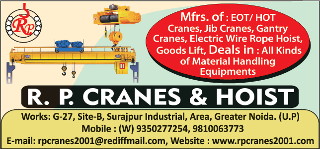 Eot Cranes, Hot Cranes, Jib Cranes, Gantry Cranes, Electric Wire Rope Hoist, Goods Lifts, Material Handling Equipments