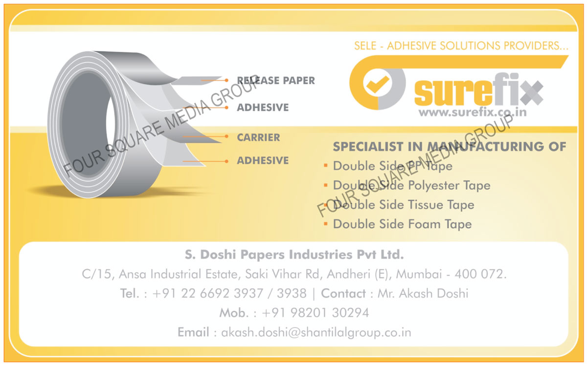 Double Side PP Tapes, Double Side Polyester Tapes, Double Side Tissue Tapes, Double Side Foam Tapes
