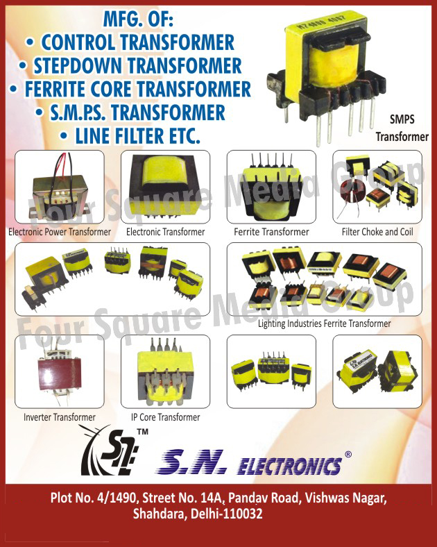 Control Transformers, Step Down Transformers, Ferrite Core Transformers, SMPS Transformers, Line Filters, Electronic Power Transformers, Electronic Transformers, Filter Chokes, Filter Coils, Inverter Transformers, IP Core Transformers, Lighting Industry Ferrite Transformers,