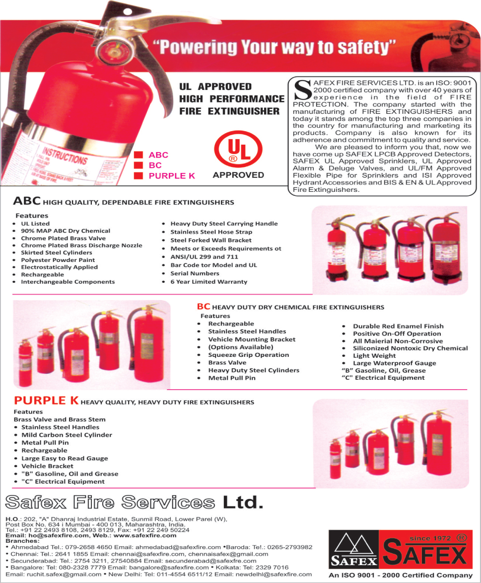 Fire Safety Products, Fire Extinguishers, Smoke Detectors, Sprinklers, Alarm Valves, Deluge Valves, Sprinkler Flexible Pipes, Hydrant Accessories