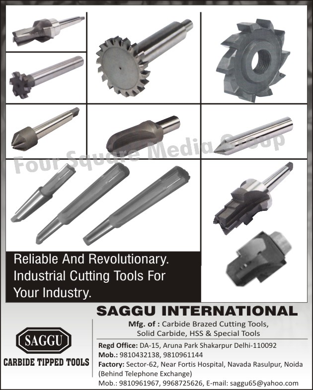 Carbide Tipped Tools, Reamers, Endmills, Woodruff Cutters, HSS Step Drills, Chamfering Tools, T Slot Cutters, Industrial Cutting Tools, Carbide Brazed Cutting Tools, Solid Carbide, HSS Tools