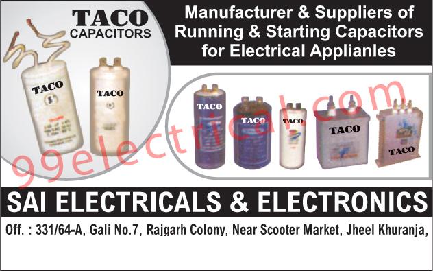Running Capacitors, Starting Capacitors,Capacitors
