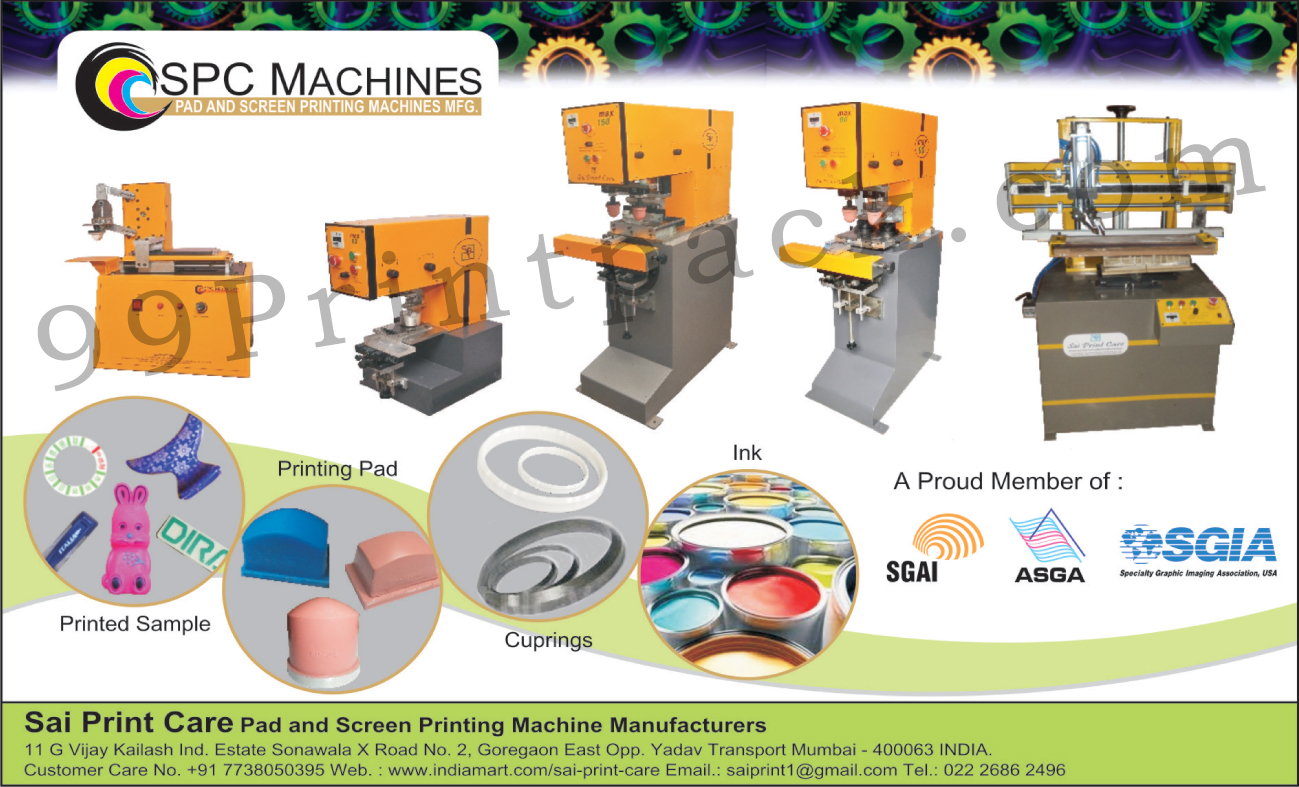 Pad Printing Machines, Screen Printing Machines, Printing Pads, Printing Inks, Cuprings, SPC Machines,Ink, Pad Printing Accessories, Pad Printing Items, Machine Printing Item