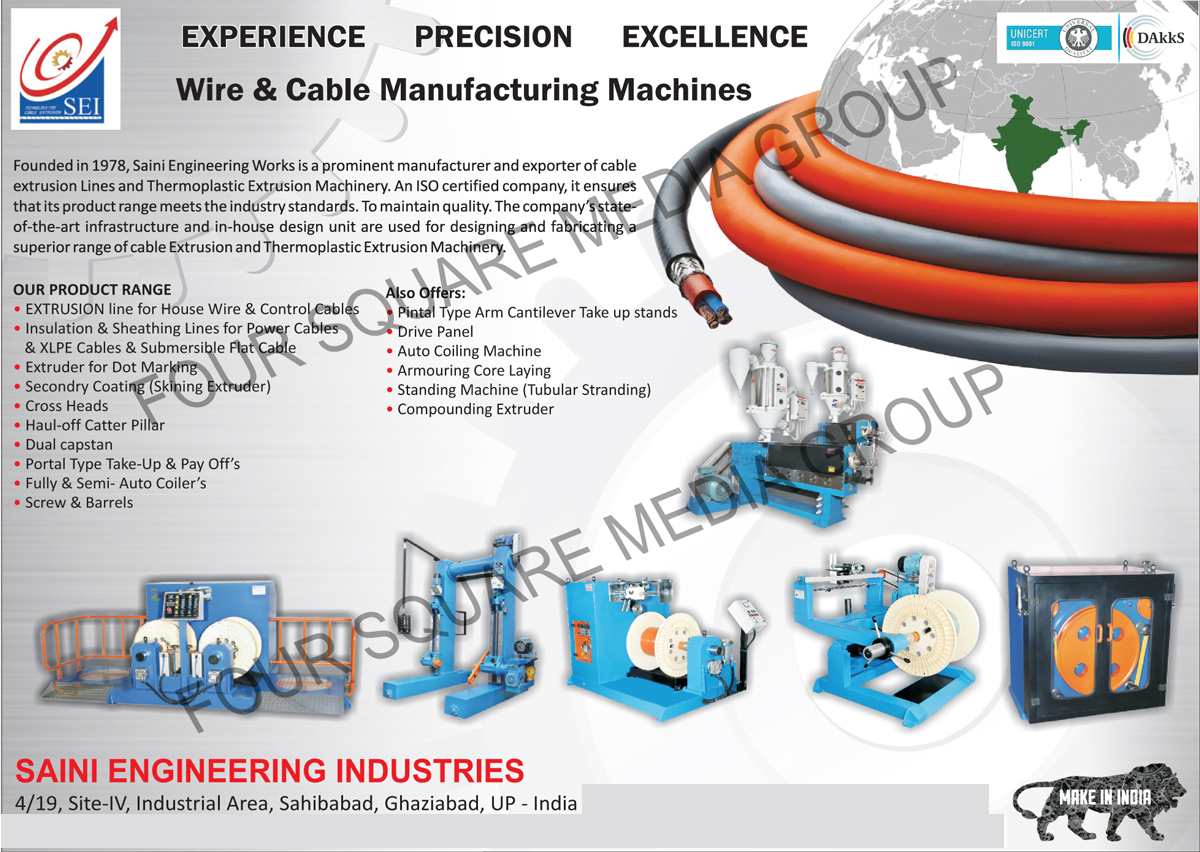Wire Manufacturing Machines, Cable Manufacturing Machines, House Wire Extrusion Lines, Control Cable Extrusion Lines, Power Cable Insulation Lines, XLPE Cable Insulation Lines, Submersible Flat Cable Insulation Lines, Extruder For Dot Marking, Secondary Coating Machines, Skining Extruders, Cross Heads, Haul Off Catter Pillar, Dual Capstans, Portal Type Take Ups, Portal Type Pay Offs, Auto Coilers, Screws, Barrels, Pintal Type Arm Cantilever Take Up Stands, Drive Panels, Auto Coiling Machines, Armouring Core Layings, Standing Machines, Tubular Stranding Machines, Compounding Extruders, Power Cable Sheathing Lines, XLPE Cable Sheathing Lines, Submersible Flat Cable Sheathing Lines, Submersible Flat Cable Sheathing Lines, Thermoplastic Extrusion Machinery
