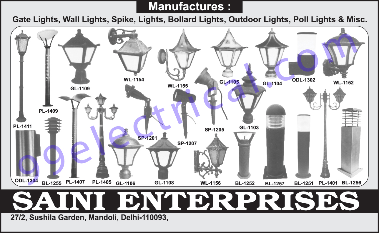 Gate Lights, Wall Lights, Spike Lights, Bollard Lights, Outdoor Lights, Poll Lights,Electrical Items, Electrical Products
