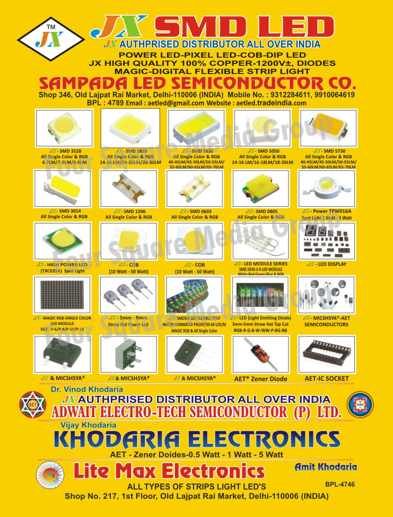 SMD, Semiconductors, High Power Led, Diodes, Ic Sockets, Led Modules, Led Displays, Straw Hat Power Leds, IC Sockets, Light Emitting Diodes, Led Lights, LED Strip Lights, Spot Lights