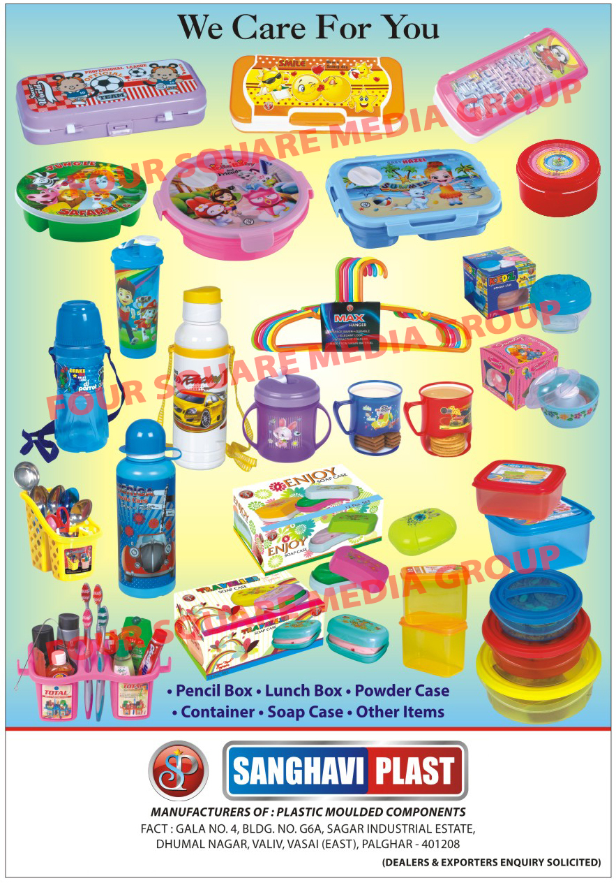 Plastic Pencil Boxes, Plastic Lunch Boxes, Plastic Powder Case, Plastic Container, Plastic Soap Case, Plastic Water Bottles, Plastic Cutlery Stands, Plastic Products,Pencil Boxes, Lunch Boxes, Powder Case, Container, Soap Case, Plastic Gift Sets, Plastic Moulded Components