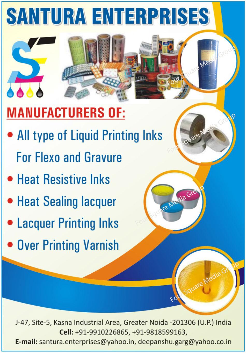 Liquid Printing Inks, Heat Resistant Inks, Heat Sealing Lacquer, Lacquer Printing Inks, Over Printing Varnish
