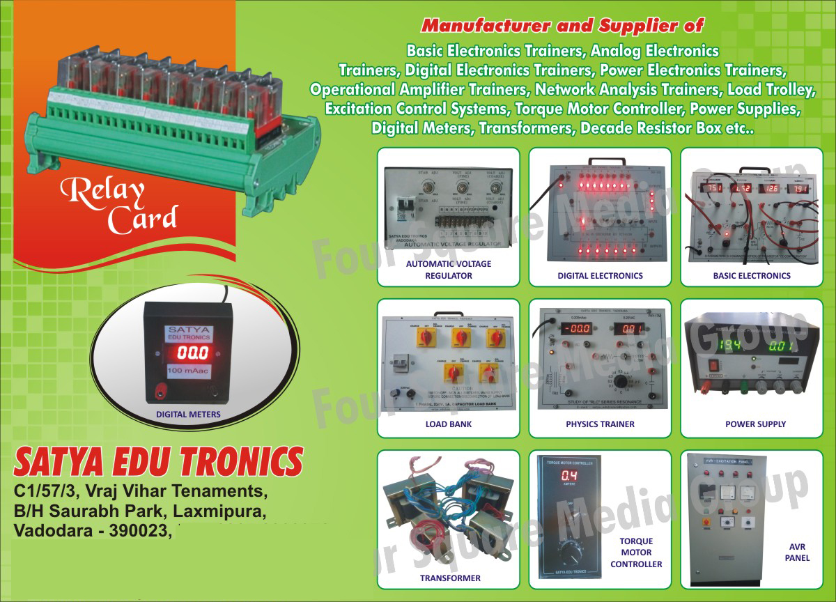Basic Electronics Trainers, Analog Electronics Trainers, Digital Electronic Trainers, Power Electronic Trainers, Operational Amplifier Electronic Trainers, Network Analysis Trainers, Load Trolley, Excitation Control Systems, Torque Motor Controllers, Power Supplies, Digital meters, Transformers, Decade Resistor Boxes, Automatic Voltage Regulator, Digital Electronics, Basic Electronics, Physics Trainers, Load Banks, Torque Motor Controllers, AVR panels