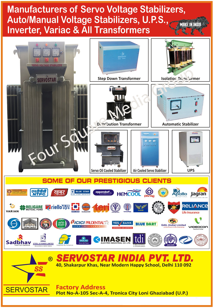Servo Voltage Stabilizers, Automatic Voltage Stabilizers, Manual Voltage Stabilizers, UPS, Inverters, Variac Transformers, Transformers, Step Down Transformers, Stepdown Transformers, Isolation Transformers, Variable Transformers, Servo Oil Cooled Stabilizers, Air Cooled Servo Stabilizers, UPS