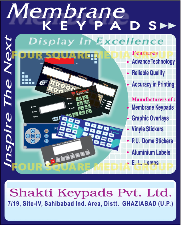 Membrane Keypads, Graphic Overlays, Vinyl Stickers, PU Dome Stickers, Aluminium Labels, El Lamps,