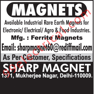 Ferrite Magnets, Electronic Industrial Rare Earth Magnets, Electrical Industrial Rare Earth Magnets, Agro Industry Rare Earth Magnets, Food Industry Rare Earth Magnets,Magnets, Electrical Magnets, Magnetic Devices, Rare Earth Magnets, Multi Pole Magnets, Hopper Magnet, Drawer Magnet, Power Magnet