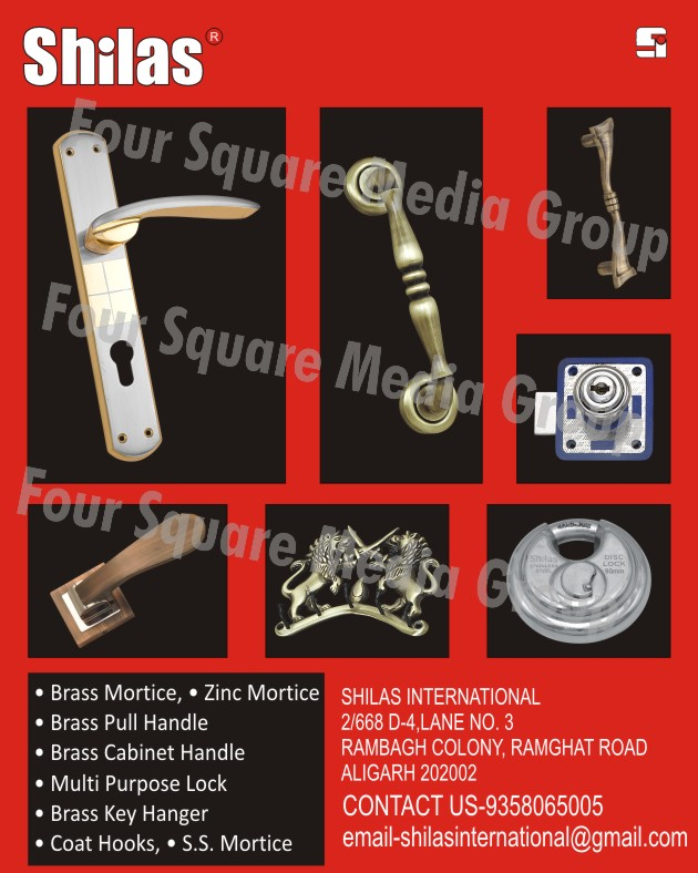 Brass Mortice Handles, Zinc Mortice Handles, Brass Pull Handles, Brass Cabinet Handles, Multi Purpose Locks, Multipurpose Locks, Brass Key Hangers, Coat Hooks, Stainless Steel Mortice Handles ,Brass Mortice, Zinc Mortice, S.S. Mortice