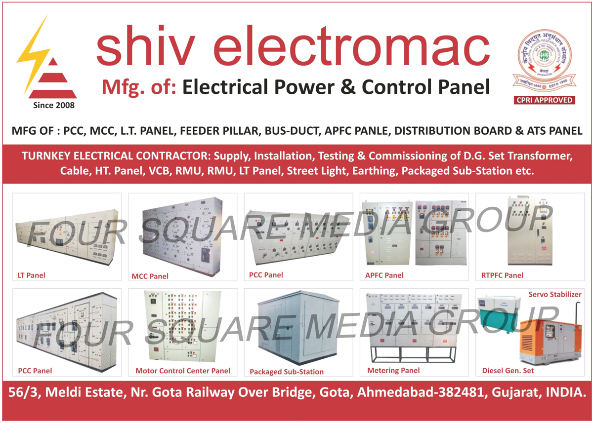 Electrical Power Panels, Electrical Control Panels, LT Panels, MCC Panels, PCC Panels, APFC Panels, RTPFC Panels, PCC Panels, Motor Control Center Panels, Packaged Sub Stations, Metering Panels, Diesel Generator Sets, Feeder Pillars, Bus Ducts, Distribution Boards, ATS Panels, Electrical Contractors
