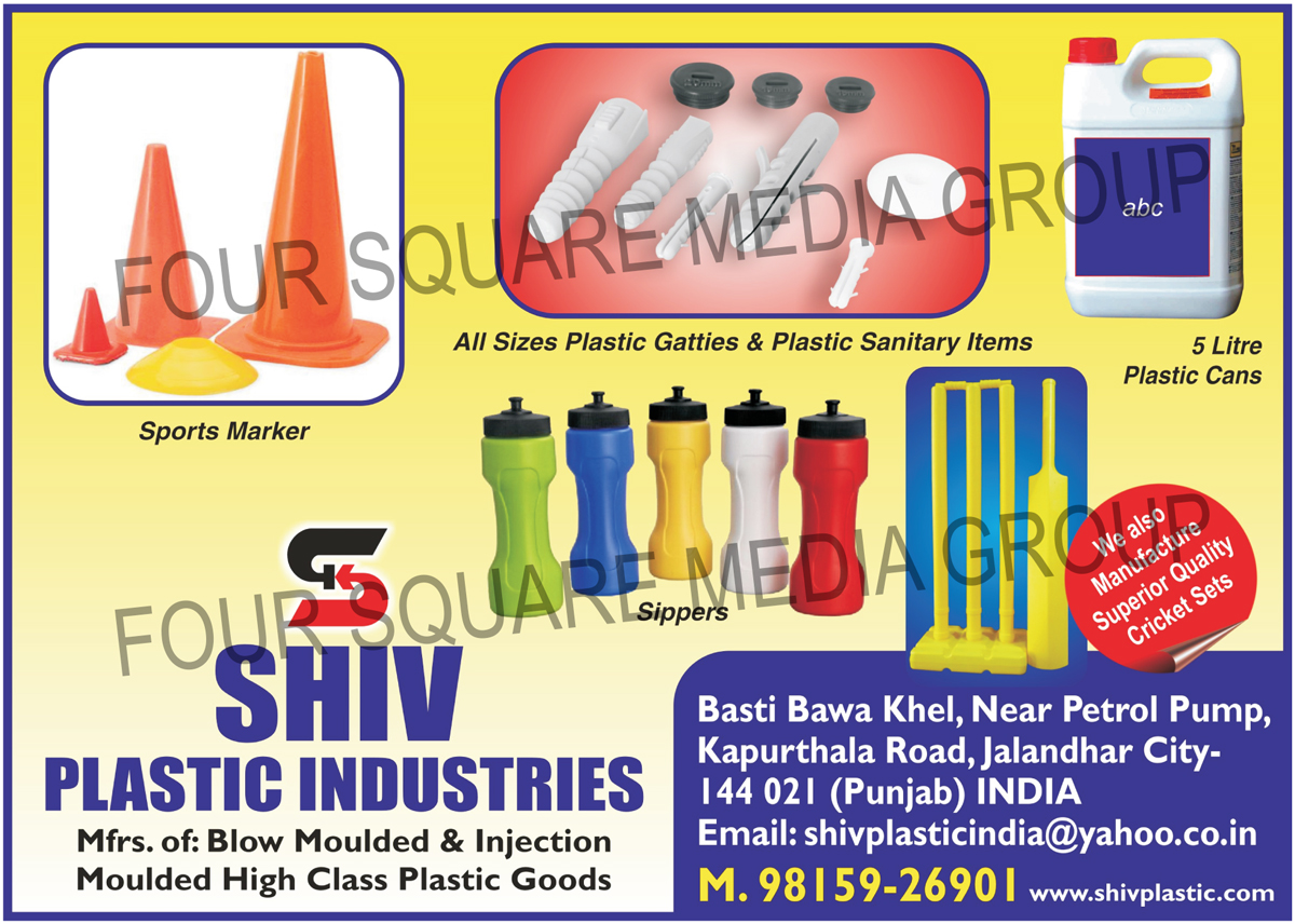 Blow Moulded Plastic Goods, Injection Moulded Plastic Goods, Plastic Sanitary Products, Plastic Cans, Plastic Sippers, Plastic Cricket Sets, Plastic Sports Markers, Plastic Sanitary Items, Plastic Gitti, Blow Molded Plastic Items, Blow Moulded Plastic Items, Injection Molded Plastic Items