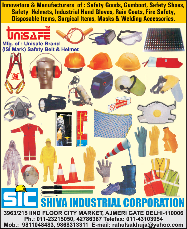 Safety Goods, Gum Boots, Safety Shoes, Safety Helmets, Industrial Hand Gloves, Rain Coats, Fire Safety, Disposable Items, Surgical Items, Masks, Welding Accessories, Safety Belts, Safety Products