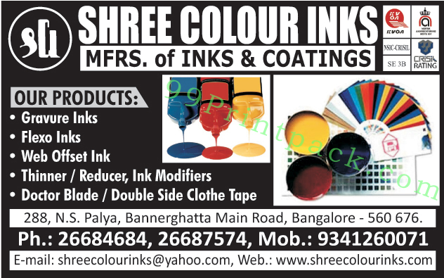 Gravure Inks, Flexo Inks, Web Offset Inks, Thinners, Reducers, Ink Modifiers, Doctor Blades, Door Blades, Double Side Clothe Tapes, Inks, Coatings