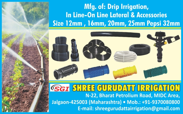 Drip Irrigation System, Inline Drip Lateral Pipes, Online Drip Lateral Pipes, Drip Accessories