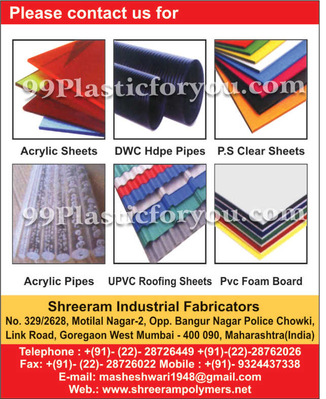Acrylic Sheets, DWC HDPE Pipes, Acrylic Pipes, UPVC Roofing Sheets, PVC Foam Boards,Pipes, Sheets, Industrial Pipes, Extruded Polymer Sheets, Polypropylene Sheets, PVC Pipe Fittings, Roofing Sheets, Acrylic Sheets
