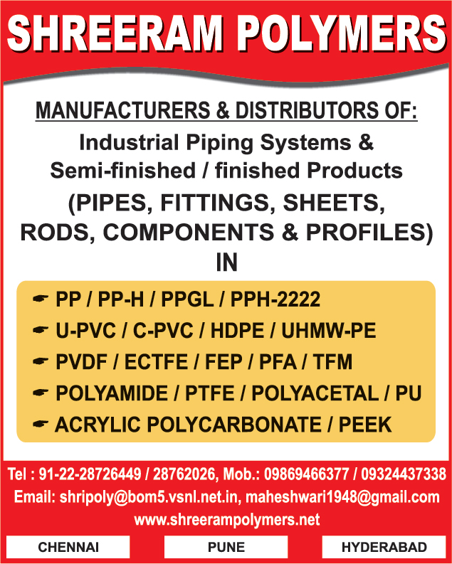 Industrial Piping System, PP Pipes, PPH Pipes, PPGL Pipes, UPVC Pipes, PP Fittings, PPH Fittings, PPGL Fittings, UPVC Pipes, UPVC Fittings, UPVC Sheets, UPVC Rods, UPVC Components, UPVC Profiles, CPVC Pipes, CPVC Fittings, CPVC Sheets, CPVC Rods, CPVC Components, CPVC Profiles, HDPE Pipes, HDPE Fittings, HDPE Sheets, HDPE ROds, HDPE Components, HDPE Profiles, UHMWPE Pipes, UHMWPE Fittings, UHMWPE Sheets, UHMWPE Rods, UHMWPE Components, UHMWPE Profiles, PVDF pipes, PVDF Fittings, PVDF Sheets, PVDF Rods, PVDF Components, PVDF Profiles, Acrylic Polycarbonate Pipes, Acrylic Polycarbonate Fittings, Acrylic Polycarbonate Sheets, Acrylic Polycarbonate Rods, Acrylic Polycarbonate Components, Acrylic Polycarbonate Profiles, Polyamide Pipes, Polyamide Fittings, Polyamide Sheets, Polyamide Rods, Polyamide Components, Polyamide Profiles,Piping System, Plastic Products