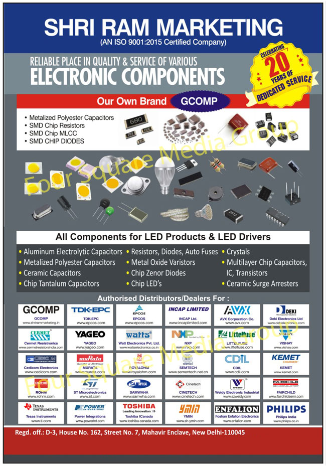 Electronic Components,Capacitors, Resistors, Diodes, Transistors, Crystals, Thermistors