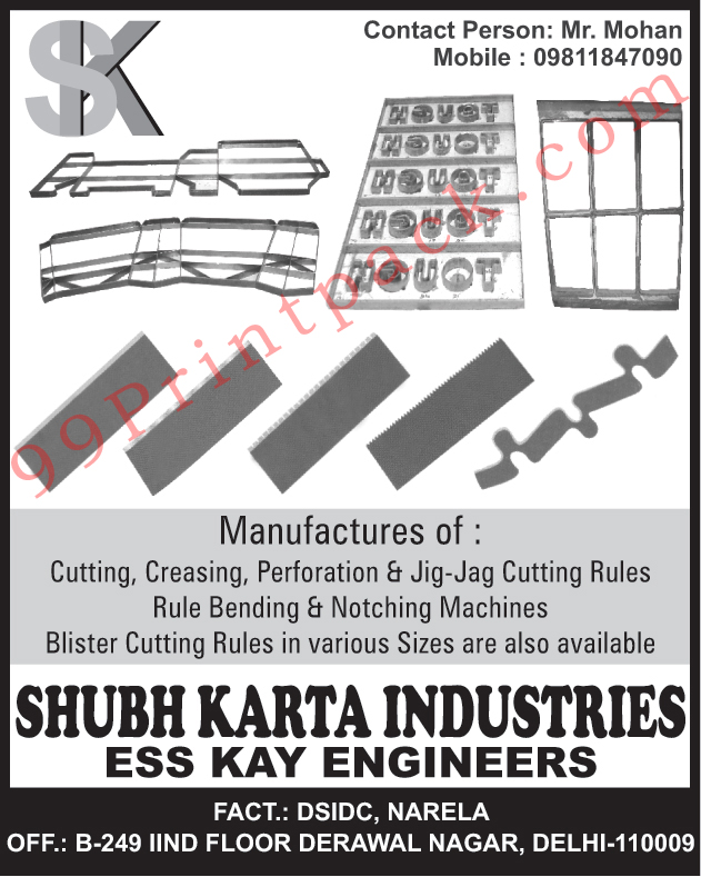 Cutting Rules, Creasing Rules, Perforation Rules, Jig Jag Cutting Rules, Rule Bending Machines, Notching Machines, Blister Cutting Rules