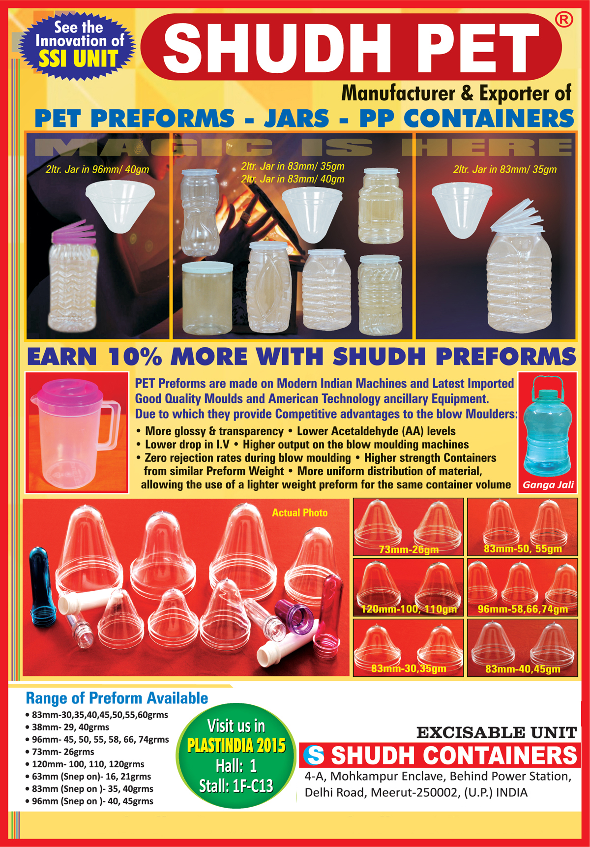 Pet Preforms, Pet Jars, PP Containers,Plastic Bottles, Cosmetics Bottles, Lollipop Sticks, Drinking Straw, CTC Caps, Butterfly Handle Caps