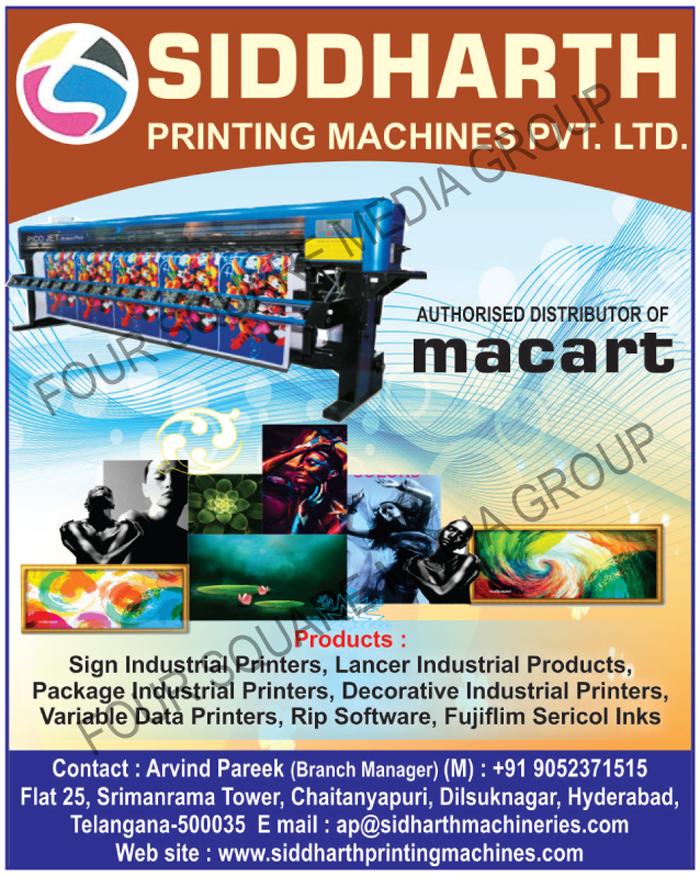 Sign Industrial Printers, Lancer Industrial Products, Package Industrial Printers, Decorative Industrial Printers, Variable Data Printers, Rip Softwares, Fujifilm Sericol Inks