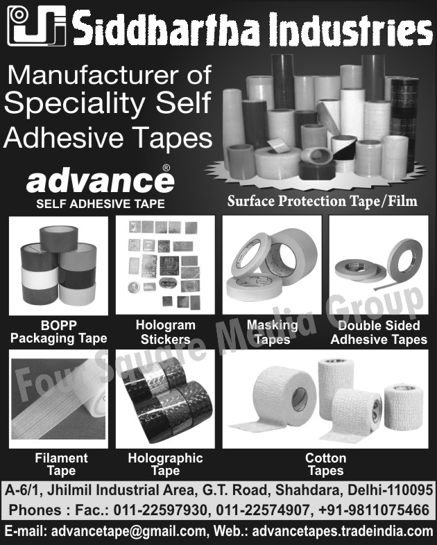 Self Adhesive Tapes, BOPP Packaging Tapes, Packaging BOPP Tapes, Hologram Stickers, Masking Tapes, Surface Protection Tapes, Surface Protection Films, Cotton Tapes, Holographic Tapes, Filament Tapes, Double Sided Adhesive Tapes