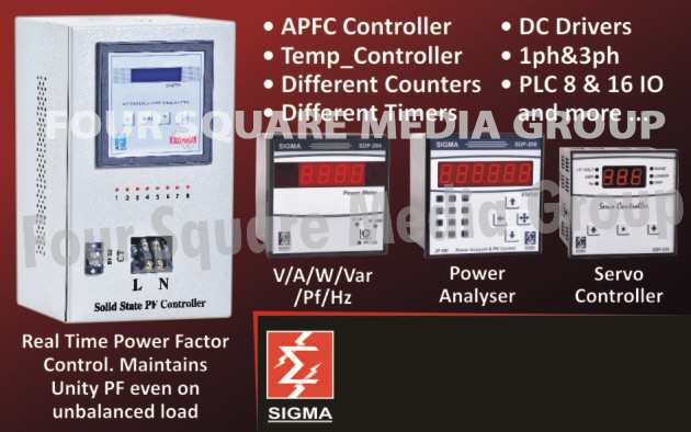 APFC Relay Controllers, Temperature Controllers, Different Counters, Different Timers, DC Drivers, PLCs, Power Analysers, Servo Controllers, Real Time Power Factor Control,